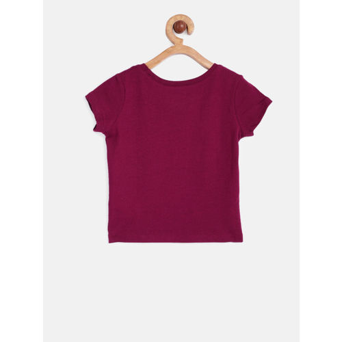 The Childrens Place Girls Maroon Printed Round Neck T-shirt