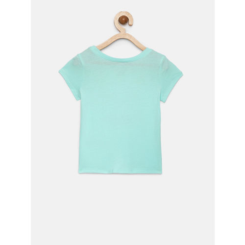 The Childrens Place Girls Blue Embellished Printed T-shirt