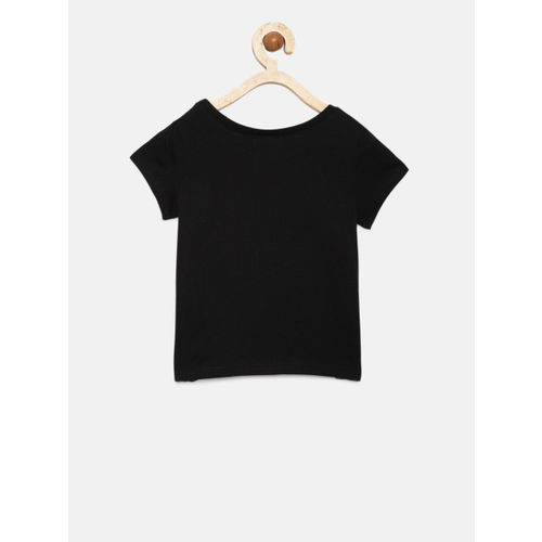The Childrens Place Girls Black Printed Round Neck T-shirt
