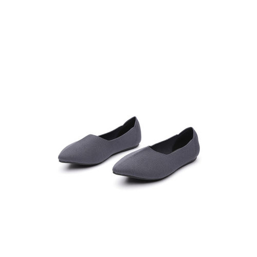ether Women Charcoal Grey Solid Ballerinas