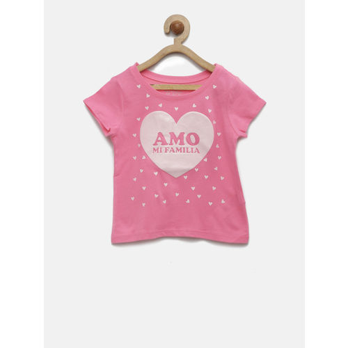 The Childrens Place Girls Pink Printed Round Neck T-shirt