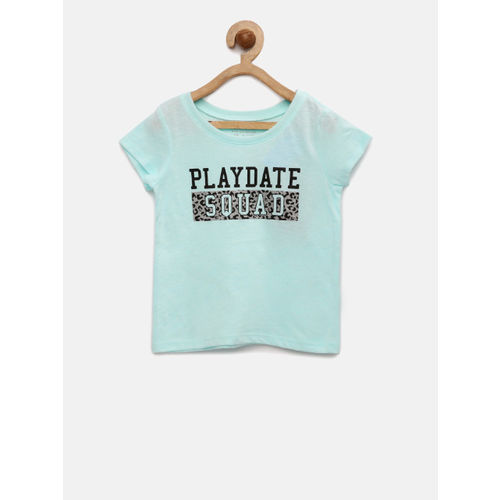 The Childrens Place Girls Blue Printed Round Neck T-shirt