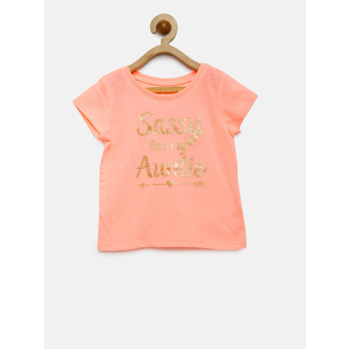 The Childrens Place Girls Peach-Coloured Printed Round Neck T-shirt