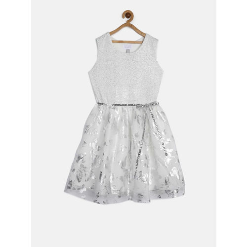 The Childrens Place Girls White & Silver-Toned Printed Fit & Flare Dress