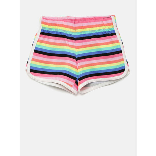 The Childrens Place Girls Multicoloured Striped Regular Fit Regular Shorts