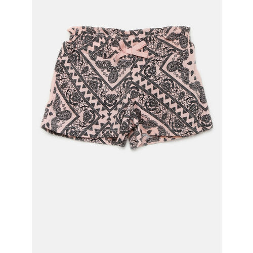 The Childrens Place Girls Pink Printed Regular Fit Regular Shorts