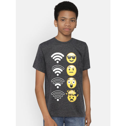 The Childrens Place Boys Charcoal Grey Printed Round Neck T-shirt