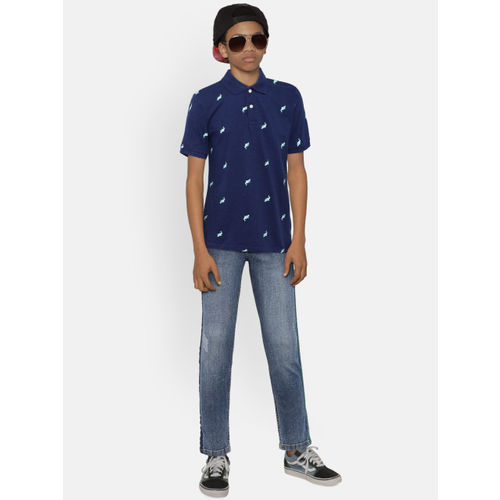 The Childrens Place Boys Navy Blue Printed Polo Collar T-shirt