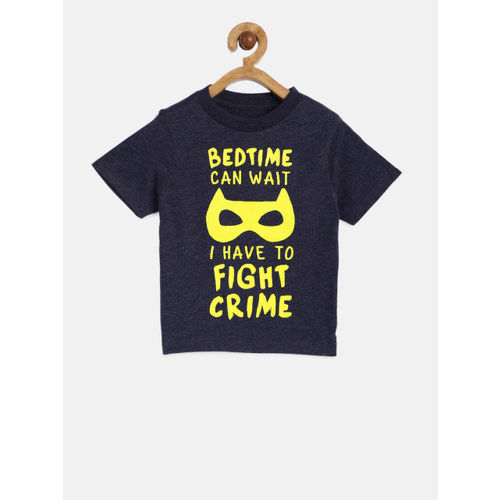 The Childrens Place Boys Navy Blue Printed Round Neck T-shirt