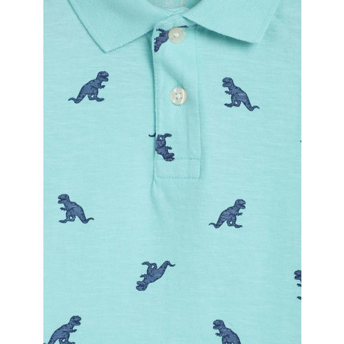 The Childrens Place Boys Blue Printed Polo Collar T-shirt