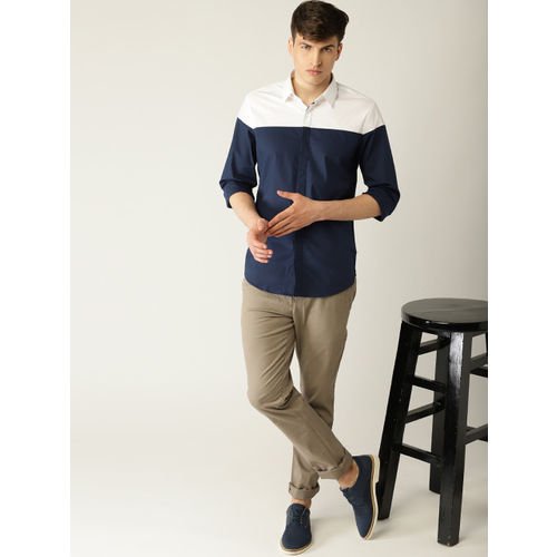 United Colors of Benetton Men Navy Blue & White Colourblocked Casual Shirt