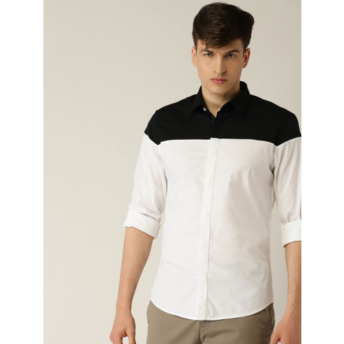 United Colors of Benetton Men Black & White Slim Fit Colourblocked Casual Shirt