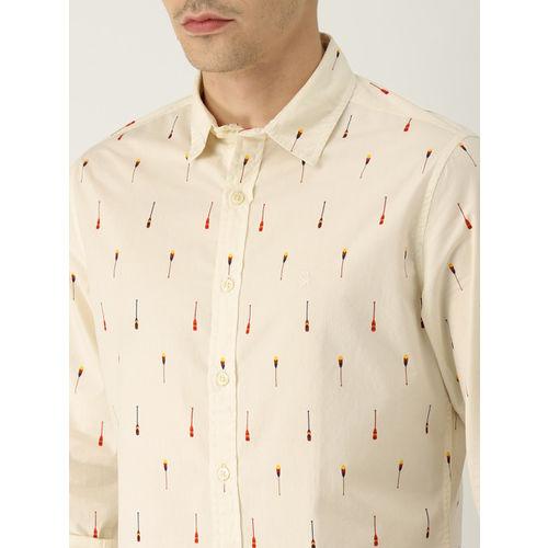 United Colors of Benetton Men Cream-Coloured Slim Fit Printed Casual Shirt