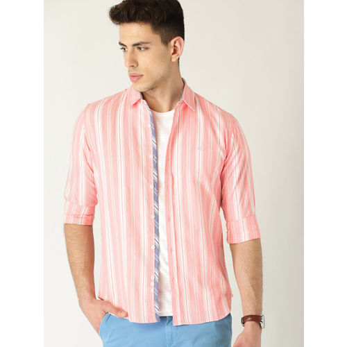 United Colors of Benetton Men Pink & White Regular Fit Striped Casual Shirt