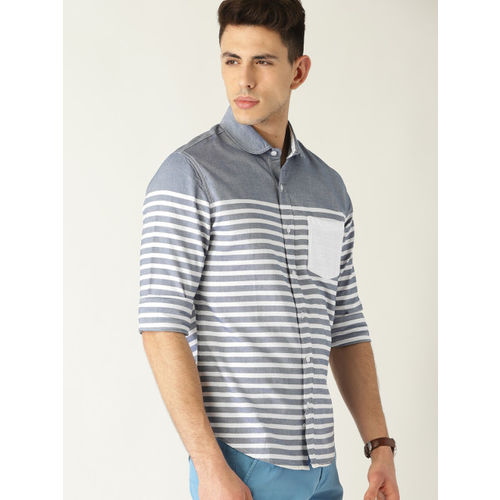 United Colors of Benetton Men Navy Blue & White Regular Fit Striped Casual Shirt
