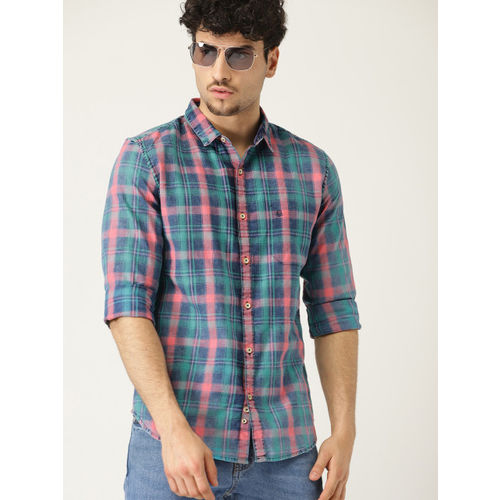 United Colors of Benetton Men Blue & Pink Regular Fit Checked Casual Shirt