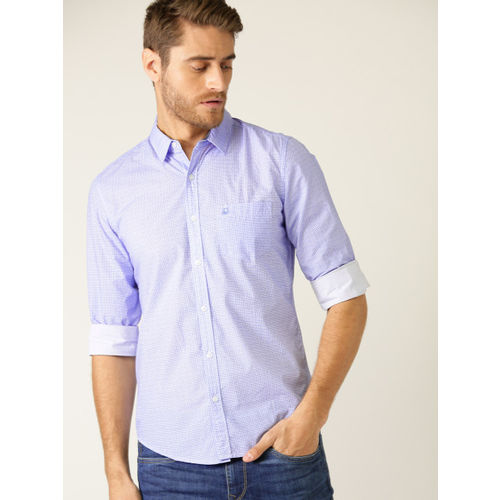 United Colors of Benetton Men Blue & White Slim Fit Printed Casual Shirt