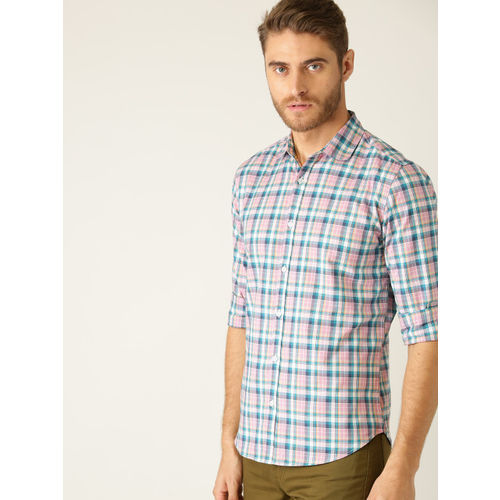 United Colors of Benetton Men Pink & Teal Blue Regular Fit Checked Casual Shirt