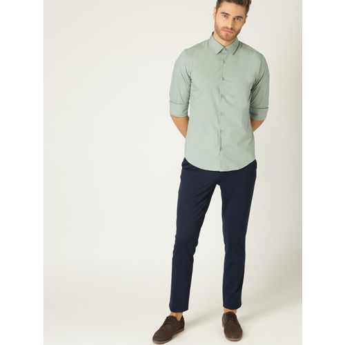 United Colors of Benetton Men Green Slim Fit Solid Casual Shirt