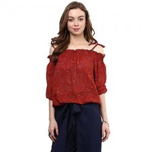 RARE Rust Red Printed Off-Shoulder Blouson Top