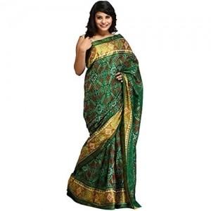 Exotic India Green Paan Patola Handloom Saree