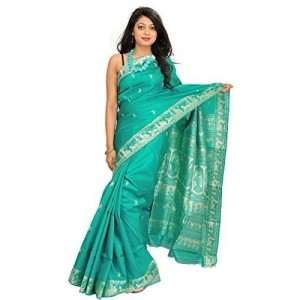 Exotic India Sky Blue Embroidered Saree