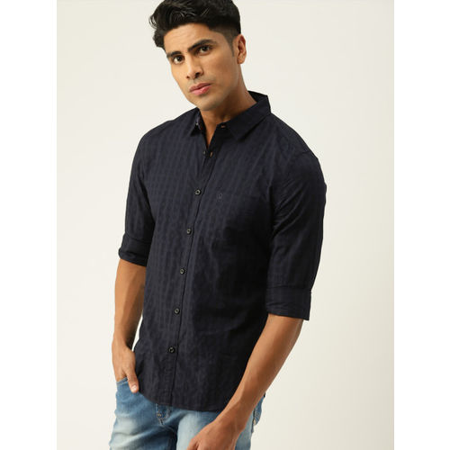 United Colors of Benetton Men Navy Blue Slim Fit Self Design Casual Shirt