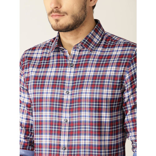 United Colors of Benetton Men Blue & Maroon Slim Fit Checked Casual Shirt