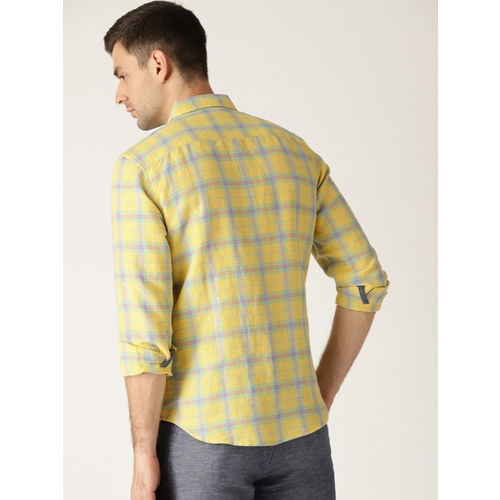 United Colors of Benetton Men Yellow & Blue Slim Fit Checked Casual Shirt