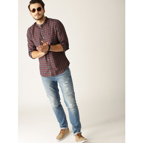 United Colors of Benetton Men Orange & Navy Slim Fit Checked Casual Shirt