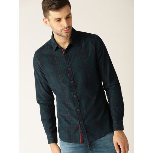United Colors of Benetton Men Navy Blue & Green Slim Fit Checked Casual Shirt