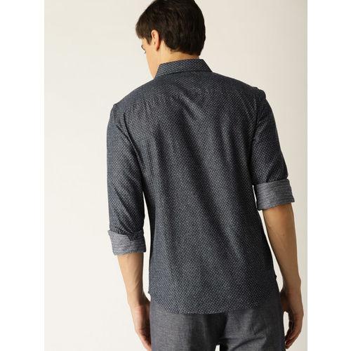 United Colors of Benetton Men Navy Blue Slim Fit Self Design Casual Shirt