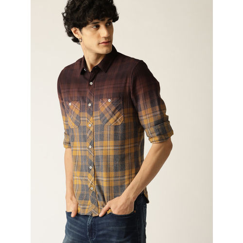 United Colors of Benetton Men Mustard Yellow & Burgundy Slim Fit Checked Casual Shirt