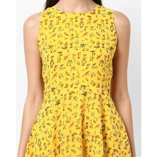 RIO Printed Sleeveless Skater Dress