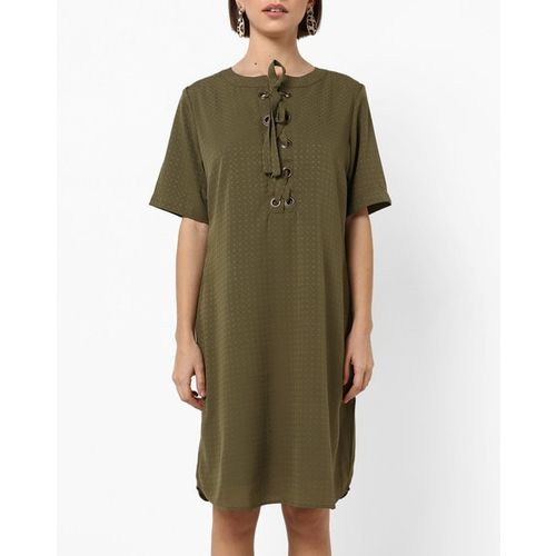 PROJECT EVE WESTERN WEAR Self-Design Shift Dress with Lace-Up Neckline