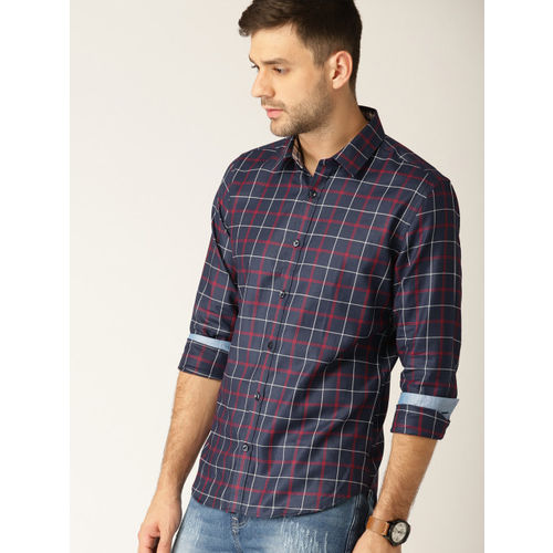 United Colors of Benetton Men Navy & Red Slim Fit Checked Casual Shirt