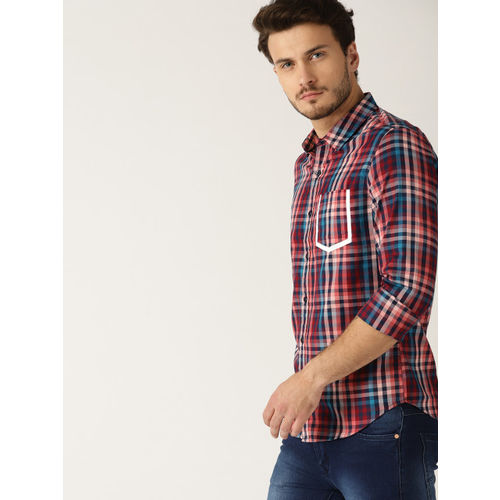 United Colors of Benetton Men Navy Blue & Coral Red Slim Fit Checked Casual Shirt