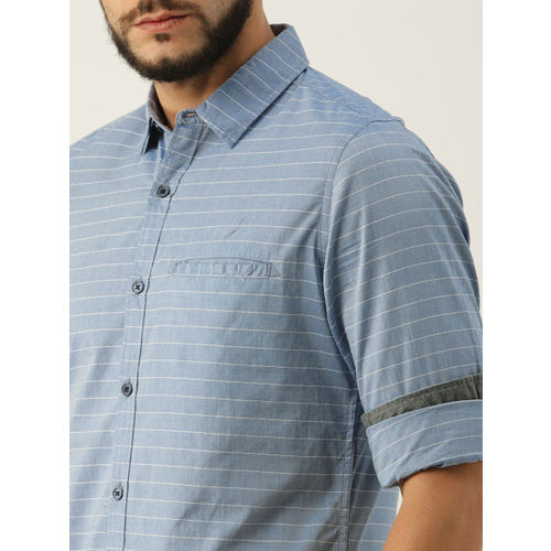 United Colors of Benetton Men Blue & White Slim Fit Striped Casual Shirt