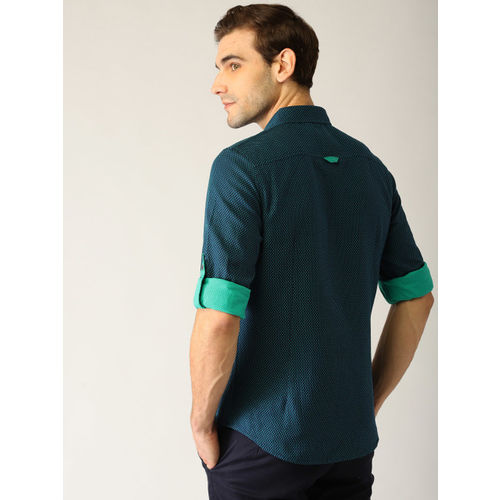 United Colors of Benetton Men Navy Blue & Green Slim Fit Self-Design Casual Shirt