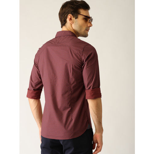 United Colors of Benetton Men Rust Brown & Navy Blue Slim Fit Printed Casual Shirt