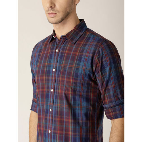 United Colors of Benetton Men Navy Blue & Rust Red Slim Fit Checked Casual Shirt