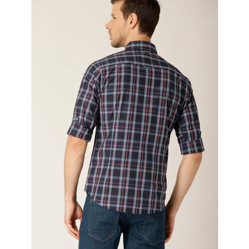 United Colors of Benetton Men Blue Slim Fit Checked Casual Shirt