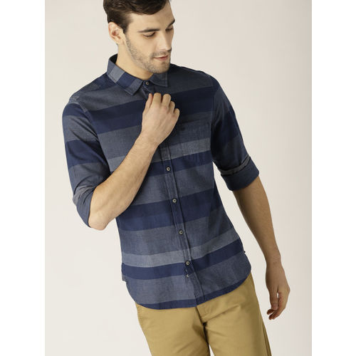 United Colors of Benetton Men Navy Blue Striped Slim Fit Casual Shirt