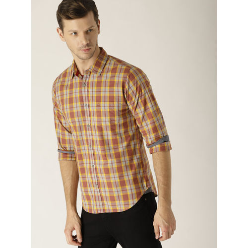 United Colors of Benetton Men Rust Orange & Mustard Yellow Slim Fit Checked Casual Shirt