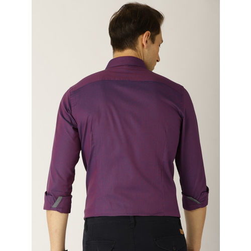 United Colors of Benetton Men Pink & Blue Slim Fit Self Design Smart Casual Shirt