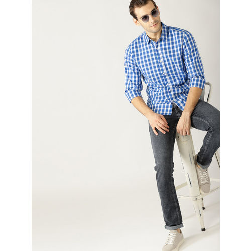 United Colors of Benetton Men Blue & White Slim Fit Checked Casual Shirt