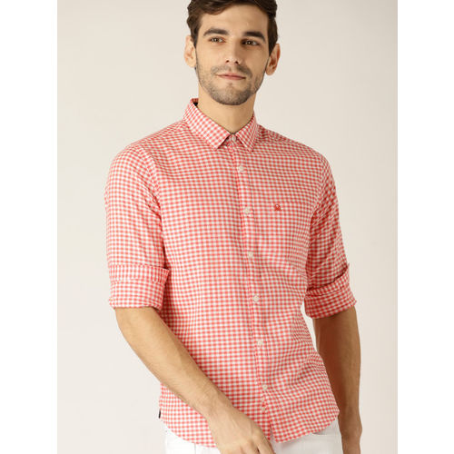 United Colors of Benetton Men Red & White Slim Fit Checked Casual Shirt