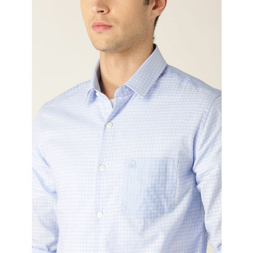 United Colors of Benetton Men Blue & White Slim Fit Self Design Casual Shirt