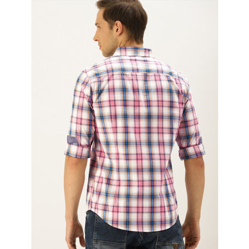 United Colors of Benetton Men Pink & White Slim Fit Checked Casual Shirt