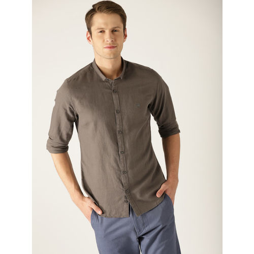 United Colors of Benetton Men Olive Brown Slim Fit Solid Casual Shirt